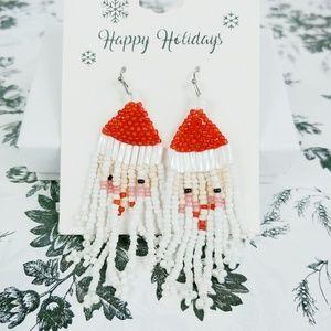 Jewelry - Santa Claus seed beaded dangle earrings